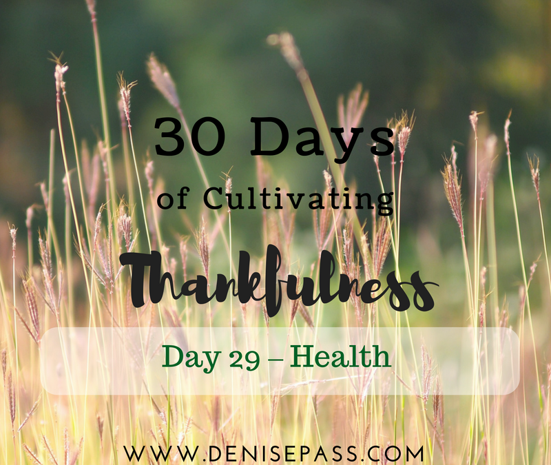 30 Days of Cultivating Thankfulness:    Day 29 – Health